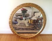 Antique Mid Century Gold Living Room Mirror, Round Gold Mirror, Home Decor for Parlor, Antique Round Mirror, Christmas Gift For WIFE, Mirror