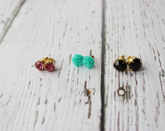 three sets of post earrings - aqua rose + pink crystal gem + black faceted stone