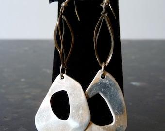 SALE Vintage Silver Intricate Modern Design Earrings