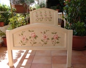 Vintage wooden bed,hand-painted roses & magnolia,shabby chic single bed.