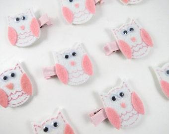 Owl Hair Clip - Pink and White Hair Clip - Felt Hair Clip -  Pink Owl Hair Clip - Small Hair Clip - Hair Clippie - Feltie Clip - Hair Clips
