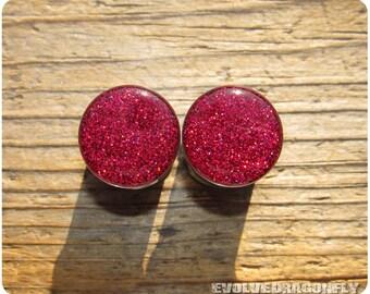 Red Cherry Rush Glitter Plugs - 2g, 0g, 00g, 7/16, 1/2, 9/16, 5/8, 3/4, 7/8, 1 Inch -- (1 Pair)