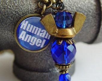 Human Angel 9/11 Tribute Angel Necklace, Cobalt Blue & Antique Bronze Wing Nut Never Forget September 11th