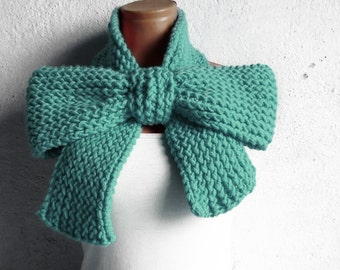 Knitted Bow Scarf Chunky Knitted Bow Ascot Neck Warmer Womens Scarf Fashion Accessories in Mint, SCARVES, Winter Knit Accessories, oversized