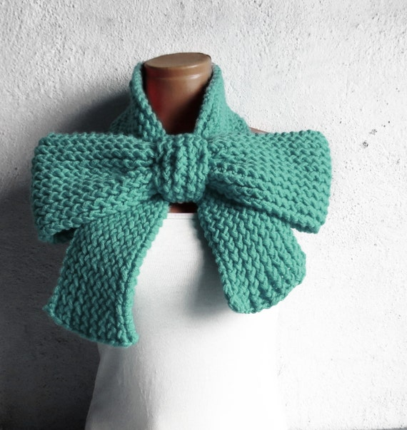 Knitting Pattern Ascot Scarf : Items similar to Knitted Bow Scarf Chunky Knitted Bow Ascot Neck Warmer Women...