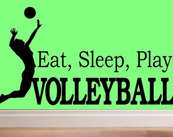 Eat sleep play Volleyball decal wall decal kids  kids decor nursery decal sport decal girls decal home decor decal girl decal living room