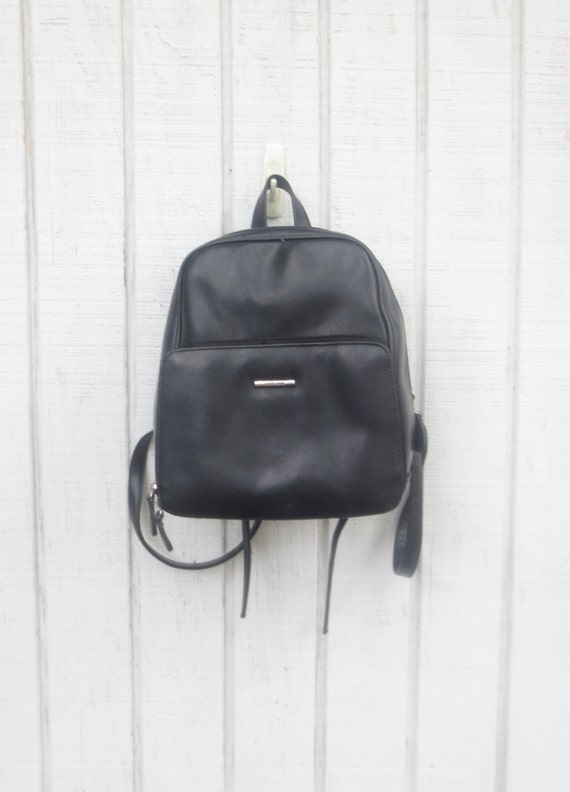 Black Leather Small Backpack | Cg Backpacks