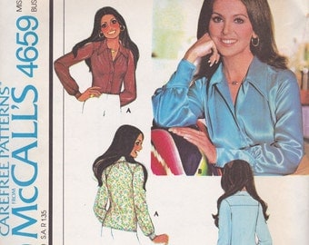 70s Basic Blouse Pattern McCalls 4659 Size 10 Uncut