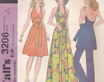 Saucy Halter Dress or Tunic & Pants Pattern McCalls 3206 Size 8