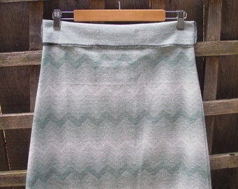 Eco Upcycled Green White Retro Vintage Style Chevron Aline Skirt/Polyester Stretch Knit A Line Knee Skirt Size M