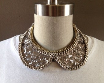Chain Embellished Sequin Peter Pan Collar with Adjustable Bow Back Closure