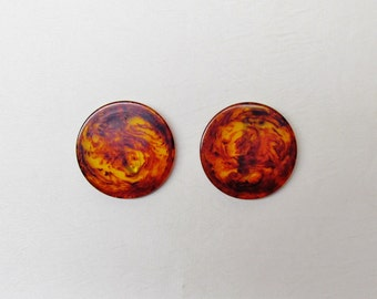 Bakelite dress clips, pair of 1940's large round marbled root beer & apple juice clips