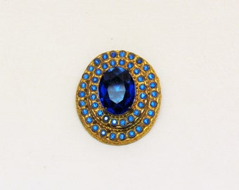 Vintage oval dress clip set with large cobalt blue unfoiled stone, c.1930's large blue rhinestone dress clip
