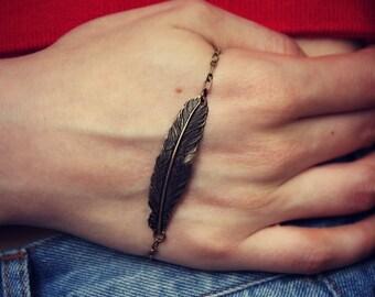feather palm bracelet, palm slave bracelet, feather accessory, unique bracelet, vintage style bracelet