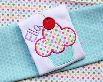Cup Cake Birthday Embroidered Shirt - Birthday Shirt - Polka Dot Birthday - Spring Birthday - Cupcake Birthday - Fun Dots Birthday