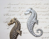 Silver or Brass Seahorse Nautical  Stamping Jewelry making Scrapbook