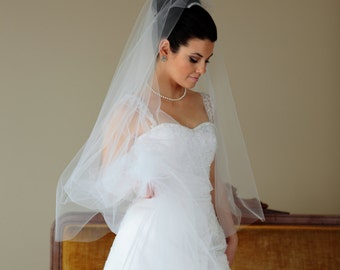 2-Tier WALTZ DROP Veil, wedding veil, bridal veil, blusher veil, champagne, ivory, diamond white, blush color