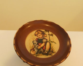 Cuendet Revolving Music Box Hummel Style Bowl With Swiss Movement Plays Love Story