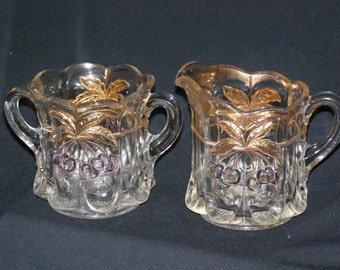 Vintage 1950's Cream and Sugar with Flash on Cherries plus Gold~ Buy one other is free