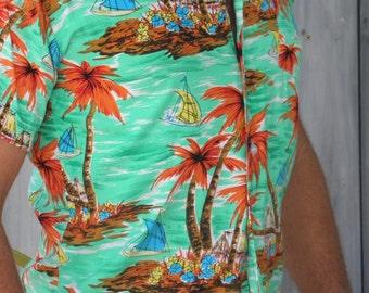 Men's Vintage Tropical Hawaiian Shirt by Sport 10, Made in Hong Kong, size M