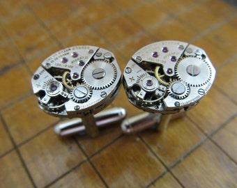 Benrus AE 13 Watch Movement Cufflinks. Great for Fathers Day, Anniversary, Groomsmen or Just Because.  #640