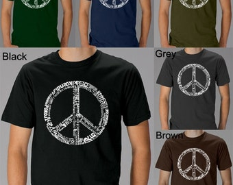 Men's T-shirt - Created using the word PEACE in 77 different languages The Peace Symbol has become such an important icon in world culture.