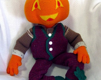 Giant Amigurumi Pumpkin Man Doll