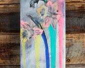 Neon Flowers, Pop Art Painting, Dripping Daffodils, Vintage Inspired