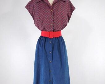 Vtg 70s Shirtwaist Dress in Red Medallions Blue Ultrasuede - med, lg