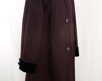 Vintage Purple Wool Coat with Velour trim Classic 1960 Coat Formal coat