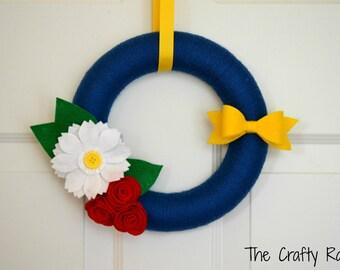 Patriotic Yarn Wreath - 10 inches