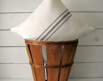Grainsack Pillow / Burlap Pillow / Cottage Pillow / Beach Pillow / Rustic Decor / Farmhouse Pillow / Choose Burlap and Stripe Color