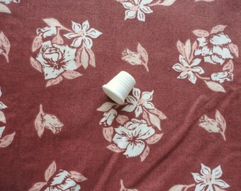 cream and light brown floral print cotton fabric -- 44 wide by 2 1/3 yards