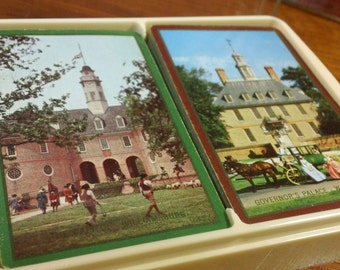 Vintage Congress 606 Double Deck by U.S. Playing Card Co. w/ plastic flip-top case ~ The Capitol & Governor's Palace in Williamsburg, VA.