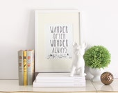 Wander Often Wonder Always™ Typography Print by Hello Small World, Travel Print, Inspirational Print, Motivational Print, Black and White