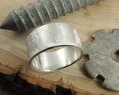 10mm Matte Brushed Mens Wedding Ring, Recycled Eco Friendly Sterling Silver
