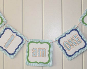 """POOL PARTY Beach Party Highchair Banner 1st Birthday Party """"I am One"""" Green Blue Orange"""