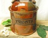 Dog Treat Jar - Pet Treat Jar - Ready to Ship - Red Jasper - Dog Bone Accent - ceramics - pottery - stoneware