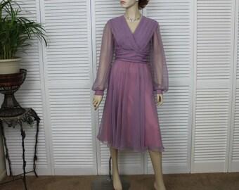 Vintage Dress 1960s Dress Lavender Chiffon