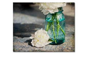 Peony Mason Jar Gallery Wrap Canvas, Aqua Blue Vase White Peonies Wall Decor, Floral Still Life Photography Gallery Wall Art, Ready to Hang