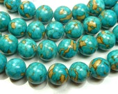 10mm Deep Sky Blue Mosaic Turquoise Round Gemstone Beads - 20pcs - BG6
