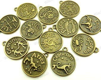 Set of 12 Zodiac Charms ( Double Sided ) Antique Bronze Tone Metal - Jewelry Supplies, Findings - BA5