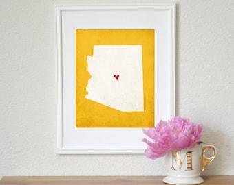 Arizona Silhouette State Map Customizable 8x10 Art Print