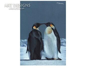 ACEO Penguin Art Print, Kissing Penguins, Archival Print, SFA Small Format Art, Artist Trading Card, Penguin Pastel, Bird Art, ADA-P237
