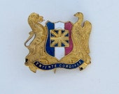 1904 Entente Cordiale Gilt Metal & Enamel Badge France and Britain Vintage Badge Antique Badge Vintage Enamel Badge