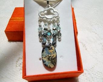 "Boulder Opal Necklace "" Monsoon "" Boulder Opal Necklace, Silver Plated Cloud, Gemstone Dangles, Ribbon Necklace"