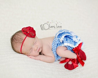 Red Puff headband, Red headbands, headbands, satin headband, newborn headbands, photography prop