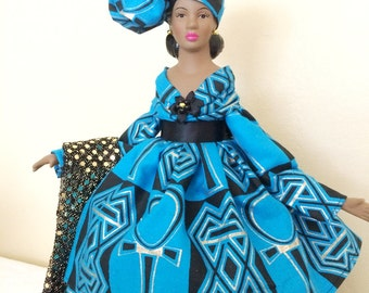 Black History Month Doll, African American Handcrafted ART Doll, Porcelain African Head Wrap, Kwanzaa Decoration, Black Doll