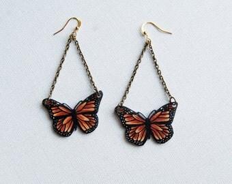 Monarch BUTTERFLY EARRINGS, Shrink Plastic Jewelry, Orange and Black, Entomology, Insect, Wearable Art