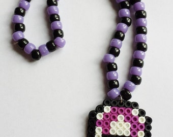 Perler Mushroom Necklace - Purple and Black
